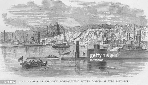 General Butler landing at Fort Pawhatan James River Virginia early to mid 1860s From an issue of Frank Leslie's Illustrated Almanac