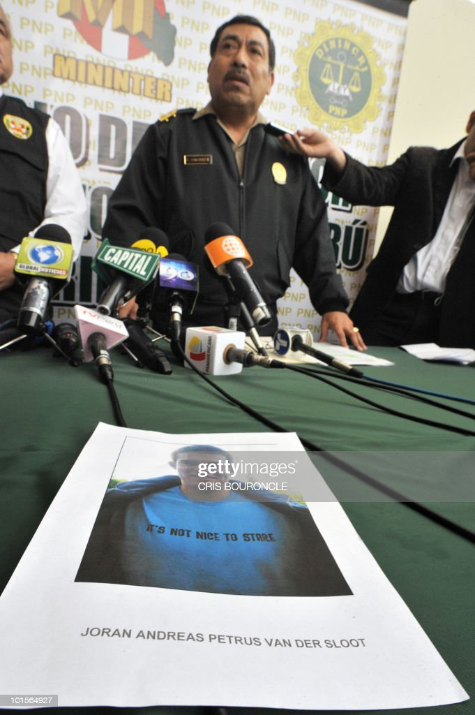 General Cesar Guardia Vasquez, chief of the criminal investigation department of the Peruvian police, gives a press conference in Lima on June 2, 2010 after Dutch citizen Joran van Der Sloot, 23 (in the picture), was signaled as the main suspect in the murder of Peruvian woman Stephany Flores Ramirez, 21, found dead in his room at a local hotel today, after they were seen together in a casino on Saturday. Guardia announced that Van Der Sloot has crossed the border with Chile. Flores was the daughter of businessman and race driver Ricardo Flores.