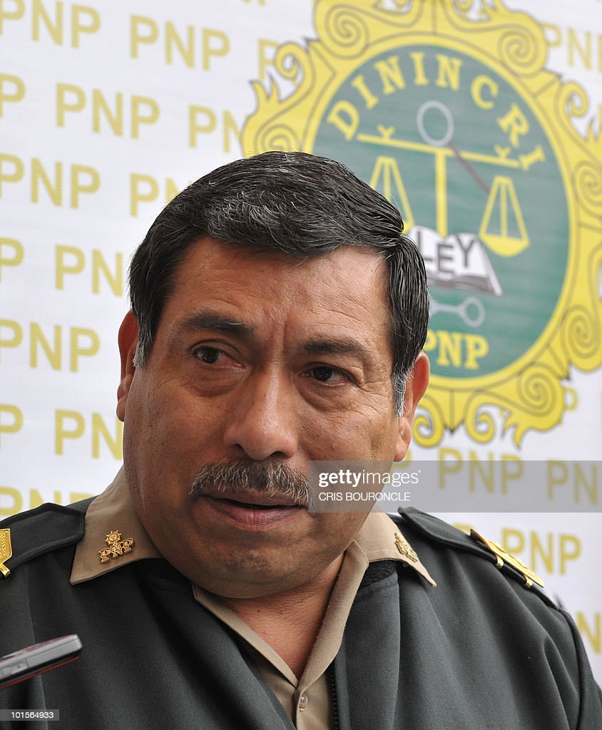 General Cesar Guardia Vasquez, chief of the criminal investigation department of the Peruvian police, gives a press conference in Lima on June 2, 2010 after Dutch citizen Joran van Der Sloot, 23, was pointed as the main suspect in the murder of Peruvian woman Stephany Flores Ramirez, 21, found dead in his room at a local hotel today, after they were seen together in a casino on Saturday. Guardia announced that Van Der Sloot has crossed the border with Chile. Flores was the daughter of businessman and race driver Ricardo Flores.