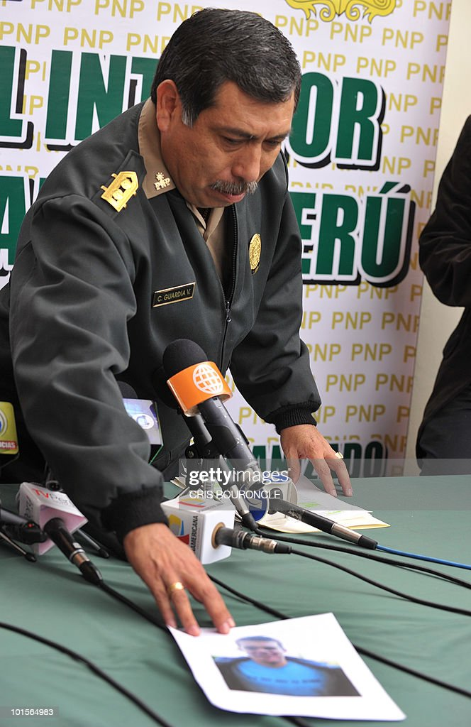 General Cesar Guardia Vasquez, chief of the criminal investigation department of the Peruvian police, gives a press conference in Lima on June 2, 2010 after Dutch citizen Joran van Der Sloot, 23, was indicated as the main suspect in the murder of Peruvian woman Stephany Flores Ramirez, 21, found dead in his room at a local hotel today, after they were seen together in a casino on Saturday. Guardia announced that Van Der Sloot has crossed the border with Chile. Flores was the daughter of businessman and race driver Ricardo Flores.