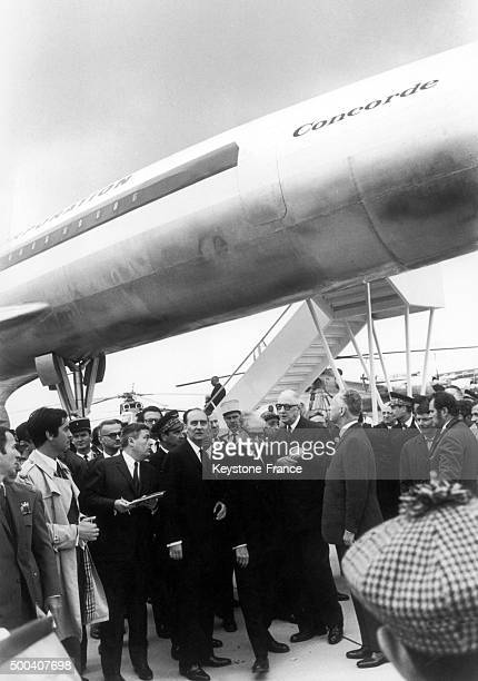 General Charles de Gaulle and Armies minister Pierre Messmer in front of a lifesize model of the Concorde General Charles de Gaulle inaugurated the...
