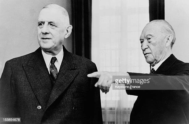 General Charles de Gaulle and Chancellor Konrad Adenauer after meeting in the context of franco german treaty of cooperation at Schumburg Palace on...