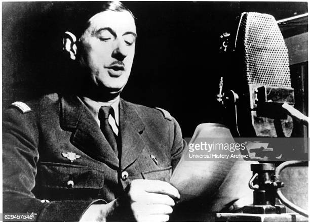 General Charles de Gaulle Broadcasting from London his Call for Resistance to Germany's Occupation of France June 1940