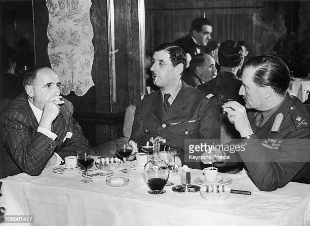 General Charles De Gaulle Dining At The Restaurant Le Coq D'Or With The Brigadier General Edward Spears And A Friend In London 1940