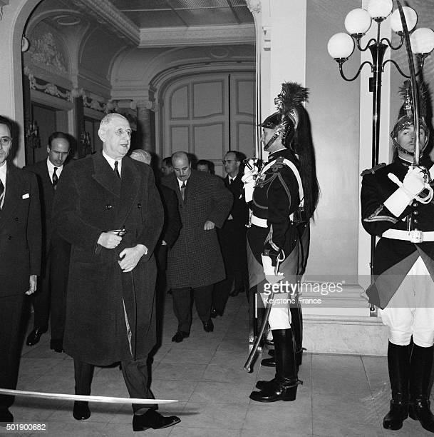 General Charles de Gaulle During His Visit At The Ecole Nationale D'Administration Created By Former Prime Minister Michel Debré in Paris France on...