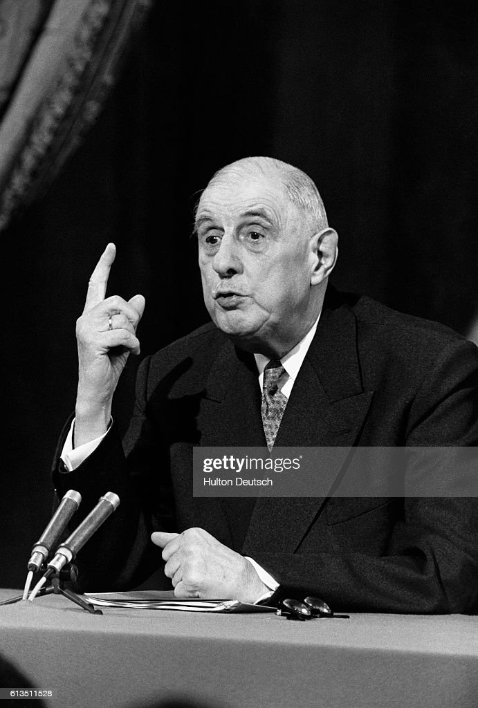 General Charles de Gaulle, French statesman and President of the Fifth French Republic, speaks in Paris in 1967 about the United Kingdom's entry into the European Economic Community.