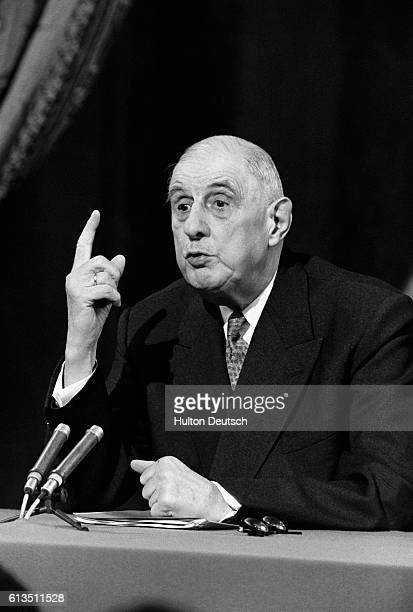 General Charles de Gaulle French statesman and President of the Fifth French Republic speaks in Paris in 1967 about the United Kingdom's entry into...