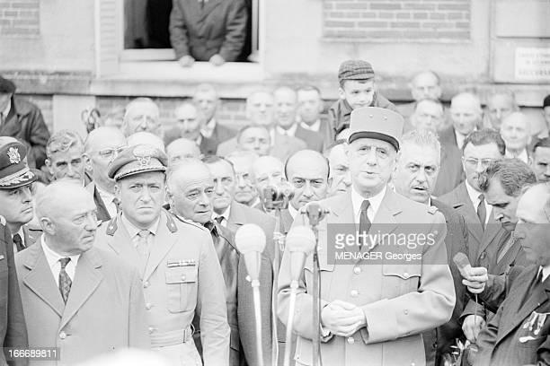 General Charles De Gaulle In La Marne A Reims pour les commémorations du cinquantenaire des batailles de la Marne lors de la première guerre mondiale