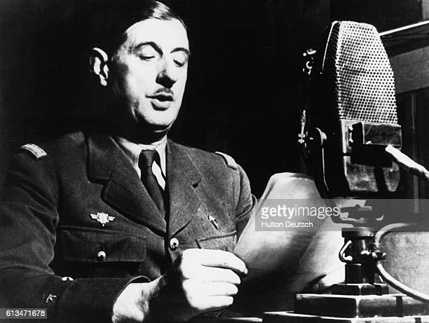 General Charles de Gaulle issues a call to the French people from London, England, June 18 just after the Nazi occupation of France. De Gaulle led...