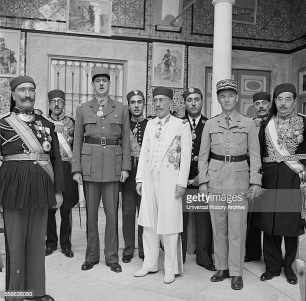 General Charles de Gaulle leader of the Free French forces consulting with the Bey of Tunis in 1943, Tunisia; world war two. Muhammad VIII al-Amin