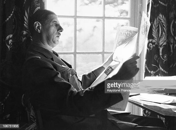 General Charles De Gaulle Leader Of The Free French Forces Reading The Newspaper
