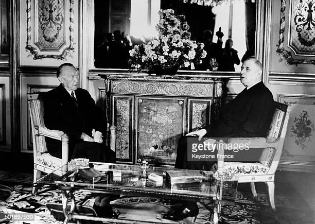 General Charles De Gaulle Meets German Chancellor Konrad Adenauer At The Elysée Palace In Paris, France, on January 21, 1963.