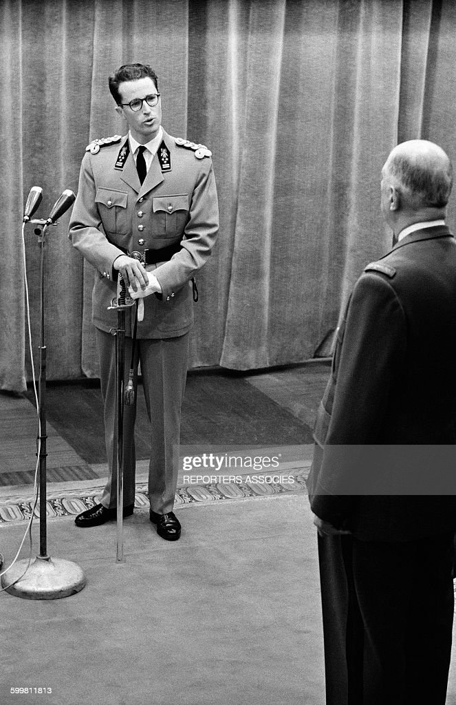 General Charles de Gaulle Receives King Baudouin of Belgium in Paris, France, in May 1961 .