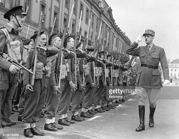 General Charles De Gaulle reviewing free French commando unit during Bastille Day in London 1942