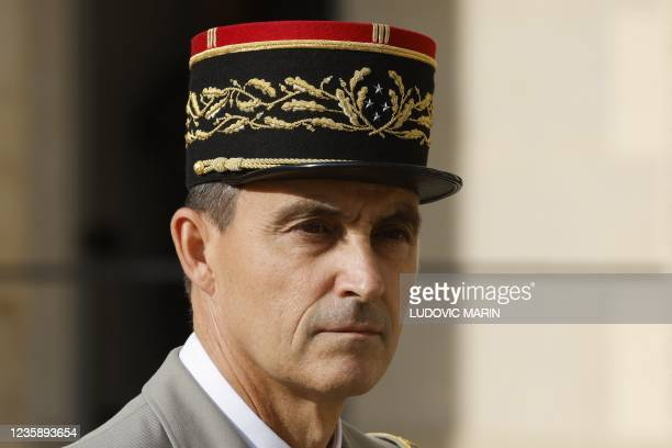 General Christophe Abad Paris' military governor is seen ahead of a national memorial service for Hubert Germain - the last surviving Liberation...