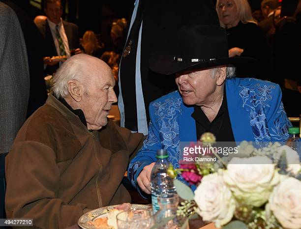 General Chuck Yeager and Singer/Songwriter Roy Clark attend The Country Music Hall of Fame 2015 Medallion Ceremony at the Country Music Hall of Fame...