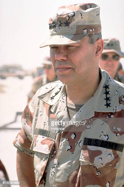 General Colin Powell chairman of the Joint Chiefs of Staff tours military facilities in Saudi Arabia during Operation Desert Shield September 13 1990