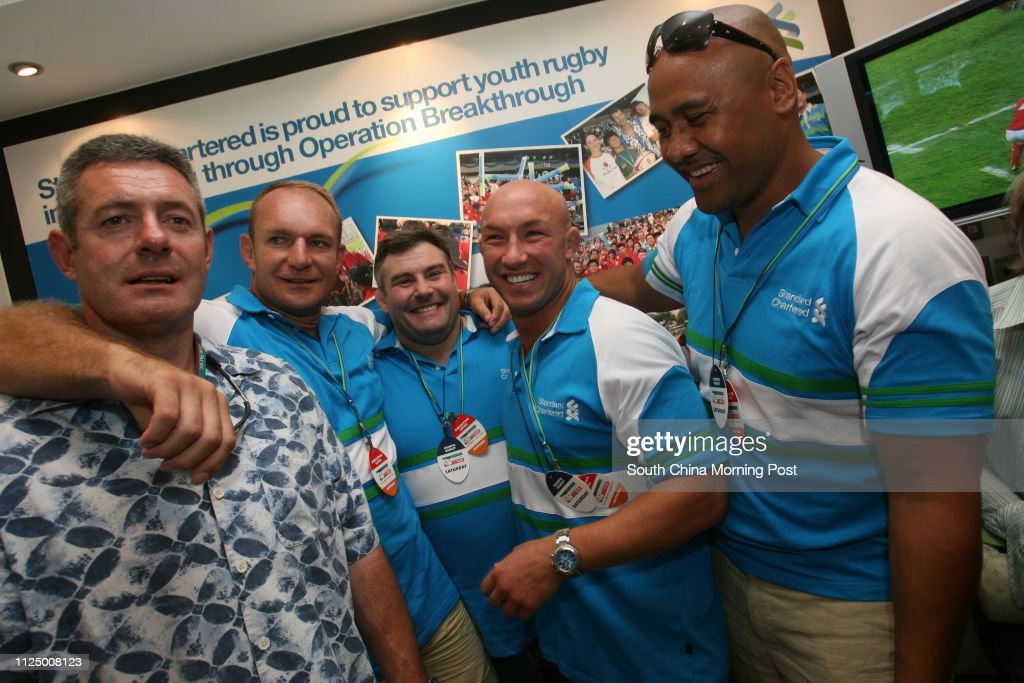 ***FOR NON-COMMERCIAL USE ONLY*** General colors  at the Hong Kong Stadium on the second day of Rugby Sevens: Former sevens players Gavin Hastings, Francois Pienaar, Jason Leonard, Phil Greening and Jonah Lomu in the Standard Chartered box. 31 March 2007 : News Photo