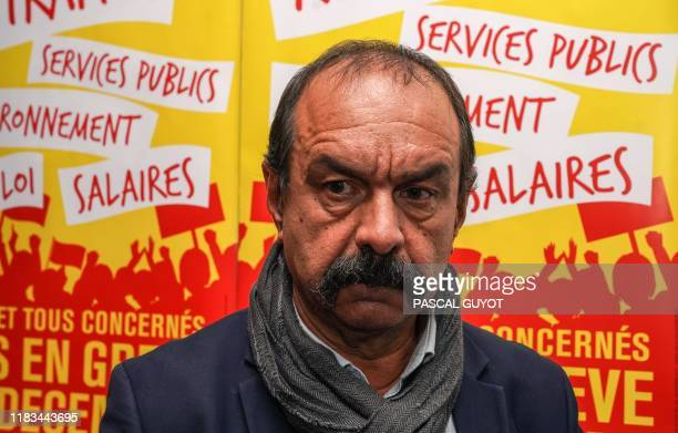 General Confederation of Labour union's French secretary-general Philippe Martinez poses during the 12th Federation CGT of Public Services congress...