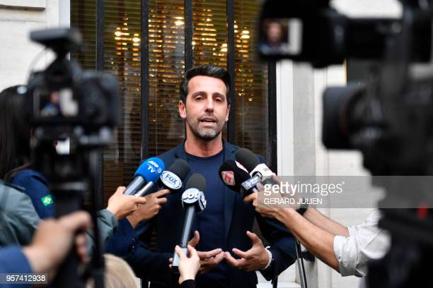 General coordinator of the Brazil national football team Edu Gaspar answers journalists' questions after Brazilian defender Dani Alves was ruled out...