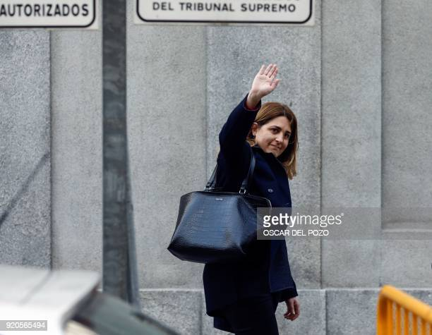 General coordinator of the 'Partit Democrata Europeu Catala'PDeCAT Marta Pascal waves as she arrives for a hearing before the judge at the Spanish...