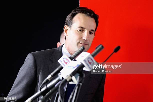 General Counsel and General Manager Legal Integrity and Compliance Andrew Dillon arrives to speak to the media during an AFL press conference at AFL...