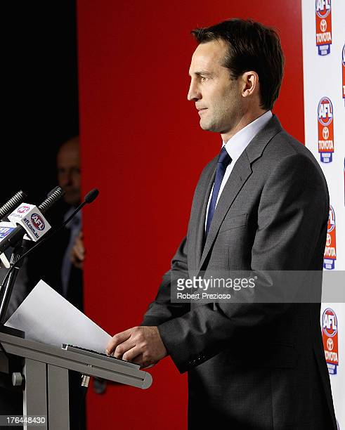General Counsel and General Manager Legal Integrity and Compliance Andrew Dillon speaks to the media during an AFL press conference at AFL House on...