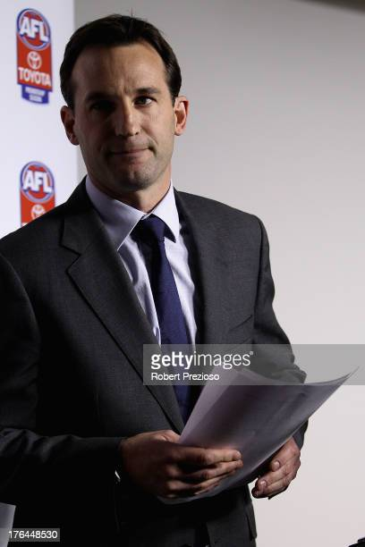 General Counsel and General Manager Legal Integrity and Compliance Andrew Dillon leaves after speaking to the media during an AFL press conference at...