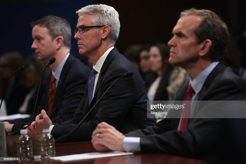 General Counsel for Twitter Sean Edgett, Vice President and General Counsel for Facebook Colin Stretch, and Senior Vice President and General Counsel for Google Kent Walker testify during a hearing before the House (Select) Intelligence Committee November 1, 2017 on Capitol Hill in Washington, DC. The committee held a hearing on 'Russia Investigative Task Force: Social Media Companies.'