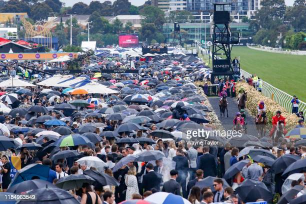 General coverage on 2019 AAMI Victoria Derby Day at Flemington Racecourse on November 02, 2019 in Melbourne, Australia.