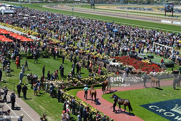 General crowd view of Race 4 The Lavazza Short Black during Melbourne Cup Day at Flemington Racecourse on November 5 2013 in Melbourne Australia