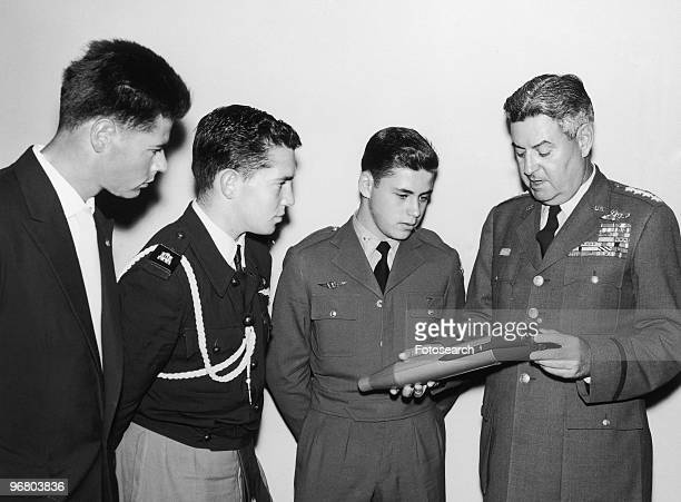 General Curtis LeMay displays a model of the ICBM missile circa 1940s