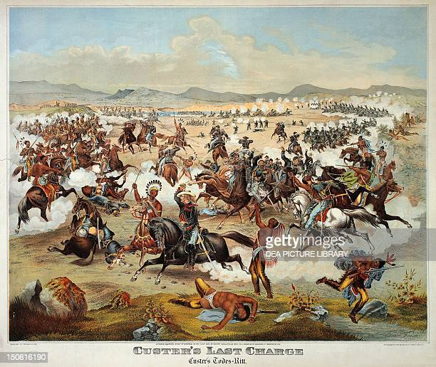 General Custer's last stand at the Battle of Little Bighorn June 25 1876 Native American Wars United States 19th century