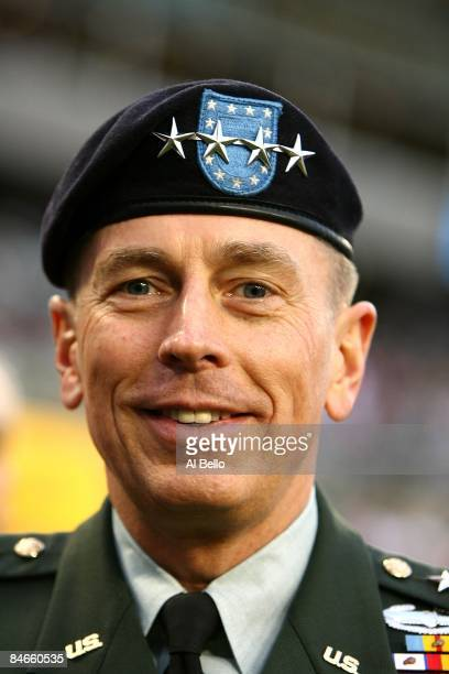 General David H. Petraeus, commander of the United States Central Command, looks on from the field prior to Super Bowl XLIII between the Arizona...