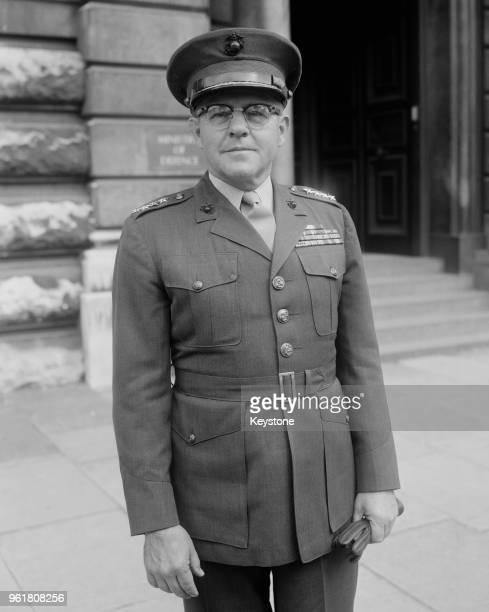 General David M Shoup Commandant of the United States Marine Corps visits the Ministry of Defence in London to see Harold Watkinson the British...