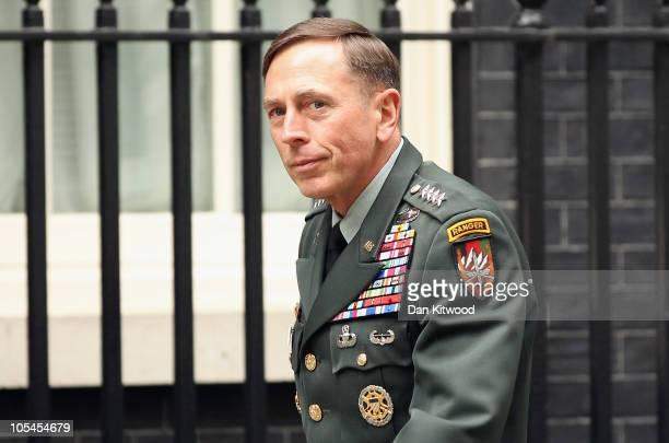 General David Petraeus arrives at 10 Downing Street to meet British Prime Minister David Cameron on October 14 2010 in London England Petraeus the...