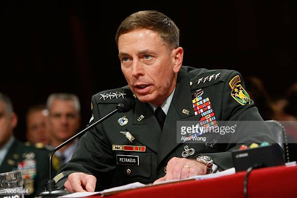 General David Petraeus testifies before the Senate Foreign Relations Committee on Capitol Hill September 11 2007 in Washington DC Later in the day...