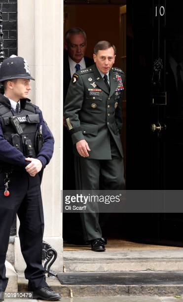 General David Petraeus the Head of US Central Command leaves Number 10 Downing Street following his meeting with British Prime Minister David Cameron...