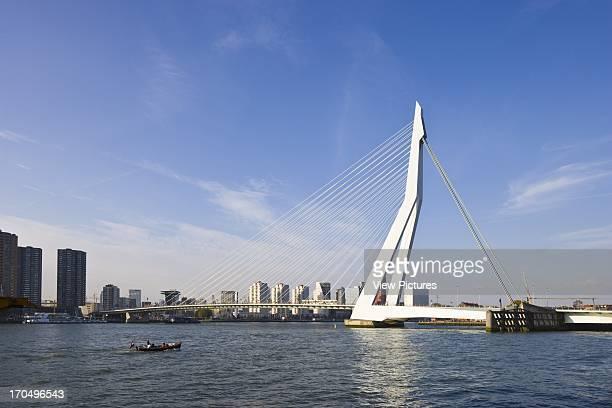 General day view Erasmus Bridge Rotterdam Netherlands Architect Ben van Berkel 1996