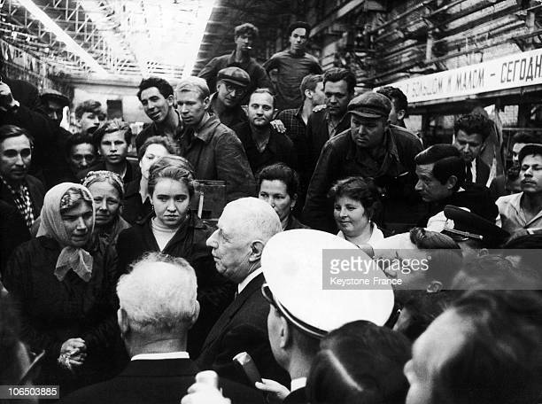 General De Gaulle Adressing The Workers Of An Electric Heavy Machinery Factory At Novosibirsk On June 25Th 1966