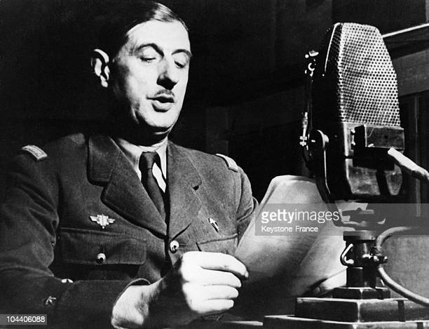 General DE GAULLE at the mic' of the BBC making a vibrant call for Resistance against the German occupation of France on June 18 1940