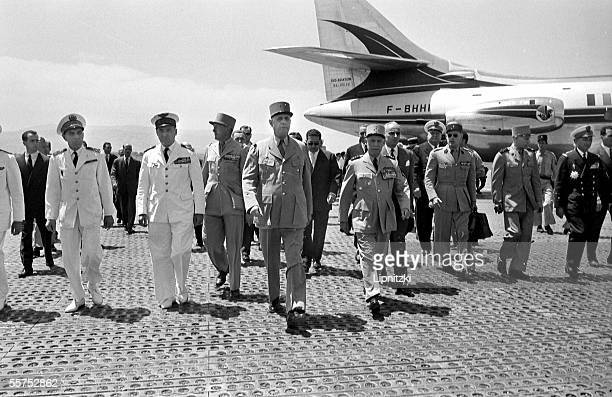 General de Gaulle French statesman accompanied with general Salan with Soustelle Guichard and Jacquinot in Algeria June 4 1958 LIP33553026