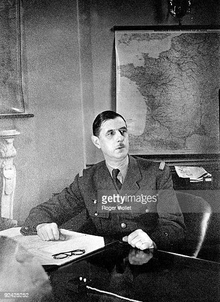General De Gaulle French statesman in his office London 1942