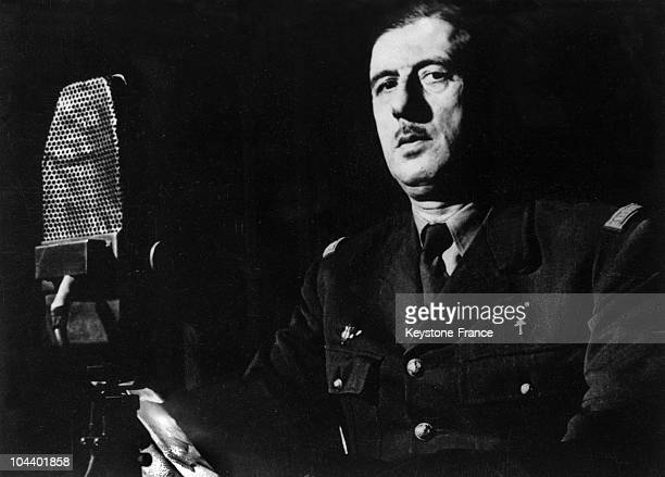 General DE GAULLE giving a fervent radio appeal over the BBC to urge his French compatriots to resist against the German occupation