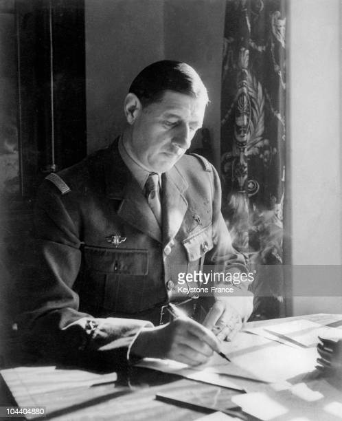 General DE GAULLE is writing at his office in the Rubens Hotel in London It was from this office that he sent out his historic June 18 appeal
