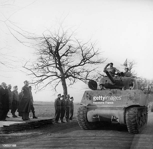 General De Gaulle On Alsace Front Greets The 2Nd Division Armoured And The Captain Alain Of Boissieu Who Will Become His SonInLaw