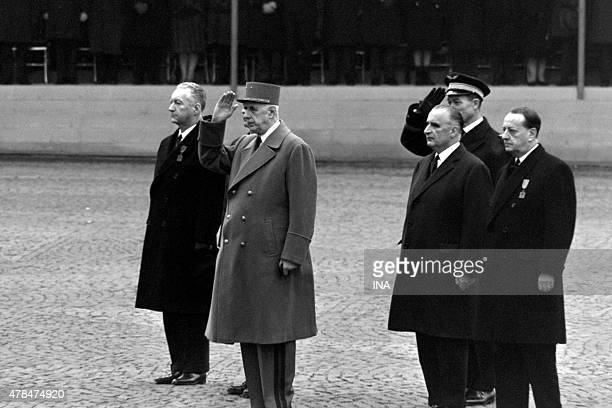General de Gaulle surrounded with Piesse Messmer Georges Pompidou and Andre Malraux during the official ceremony in the Pantheon for the transfer of...