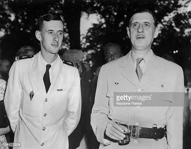General De Gaulle Then Head Of The Provisional French Government Standing Beside His Son Lieutenant Philippe De Gaulle During A Reception At The...