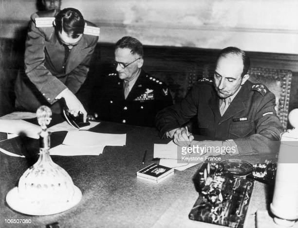 General De Lattre De Tassigny Commanding The 1St French Army Signing The Act Of German Surrender
