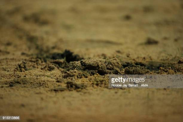 General deal view of the sand on the pitch at Spotland home stadium of Rochdale during The Emirates FA Cup Fourth Round Replay at Spotland Stadium on...